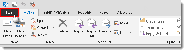 Outlook 2013 Contrast Theme Step 1
