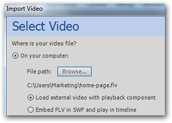 Adobe Flash CS5.5 Import Video