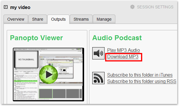 MP3 Panopto Download button