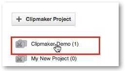 Click on Clipmaker project