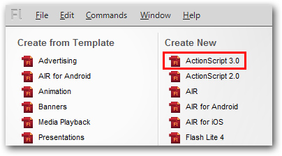 Adobe Flash CS5.5 ActionScript 3.0 Create New
