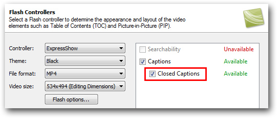 Closed Captions Camtasia
