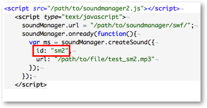 SoundManager2 embed code