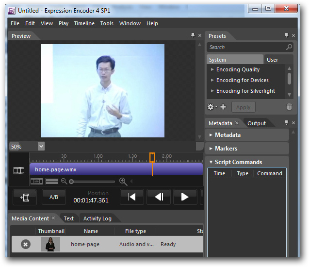 Microsoft Expression Encoder import new video