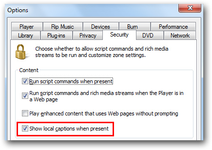 Windows Media Player Show local captions when present