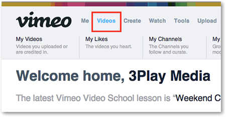 Vimeo UI Videos tab select videos to add captions subtitles