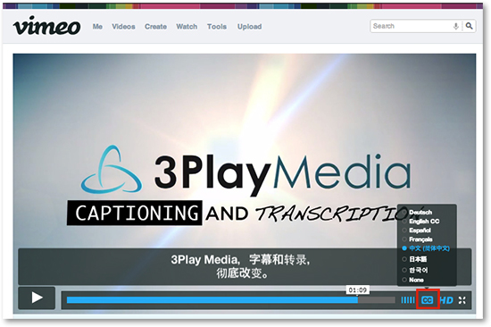 Closed captions subtitles Vimeo video Vimeo Player