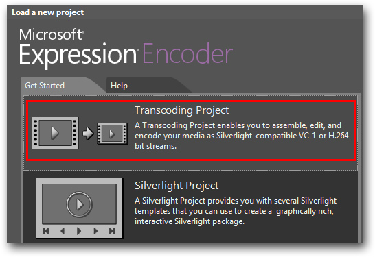 Microsoft Expression Encoder new project