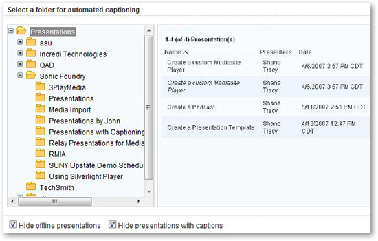 Mediasite hide offline presentations hide presentations with captions