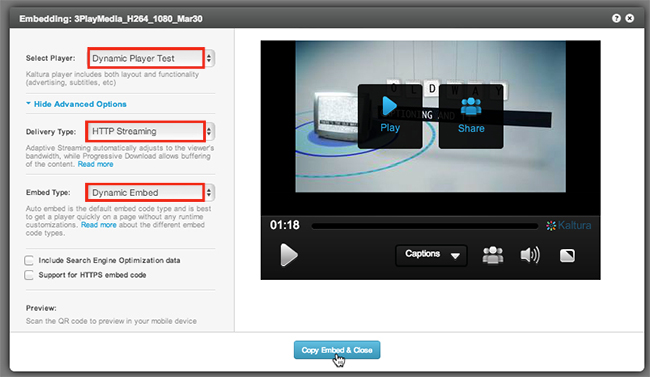 Dynamic Player Kaltura Video Embed Generator