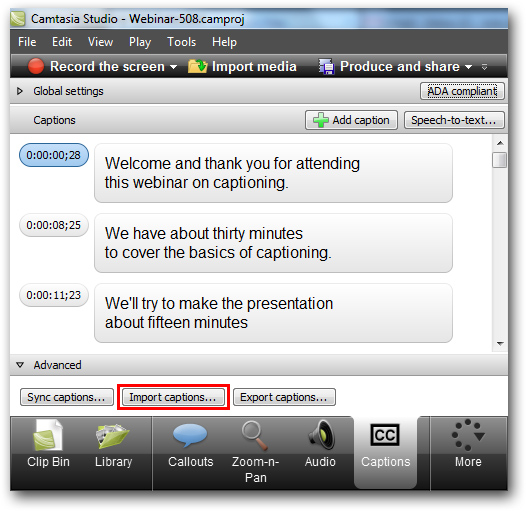 SRT SMI captions Camtasia