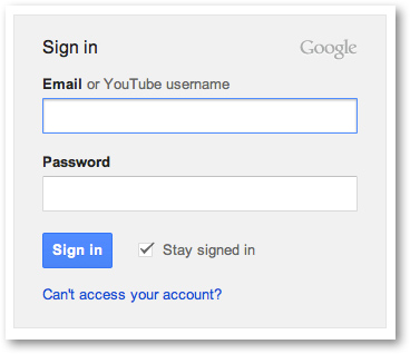 YouTube Google account sign in