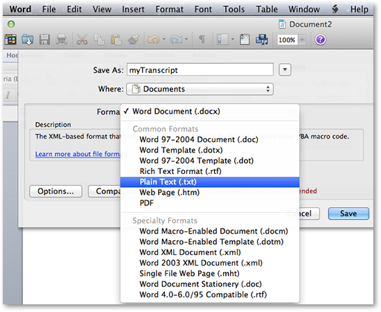 Microsoft Word Save As Plain Text transcripts