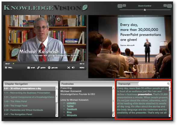 KnowledgeVision interactive transcript